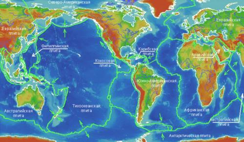 Семь крупнейших литосферных плит на карте мира. 7 самых больших литосферных плит на карте