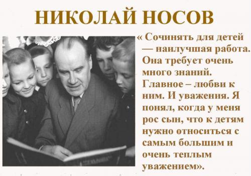 Носов биография для детей. Детский писатель Николай Носов и его книги