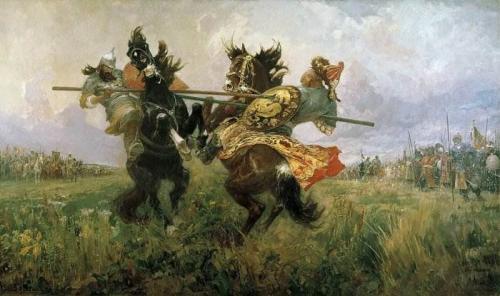 Поединок Пересвета с челубеем. Картина Авилова «Поединок на Куликовом поле» описание