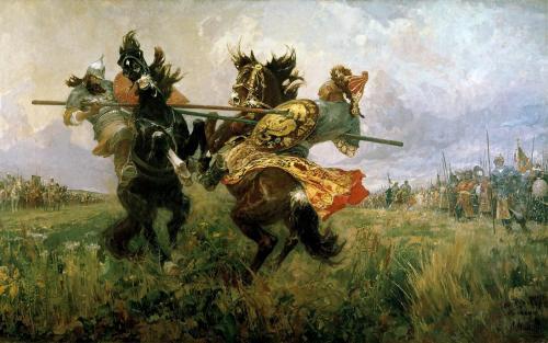 Доклад поединок Пересвета с Челубеем. Поединок Пересвета с Челубеем на Куликовом поле — самая известная картина Михаила Авилова