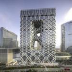 В Макао открылся уникальный футуристический отель с экзоскелетом.